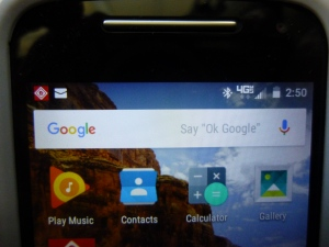 Google Search Bar with Voice Activation. Photos of my Motorola Moto-e 2nd generation 2015 phone. 4/30/2016